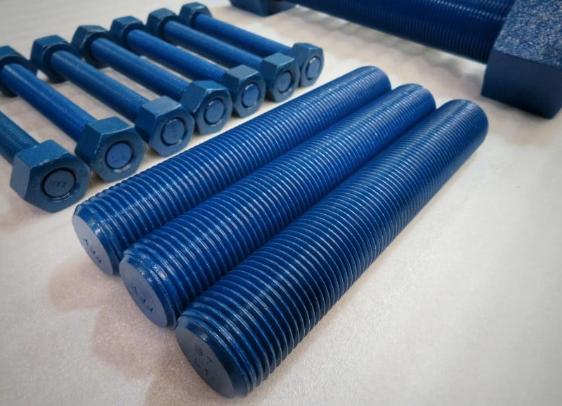 Bolts coated with blue fluoropolymer coating